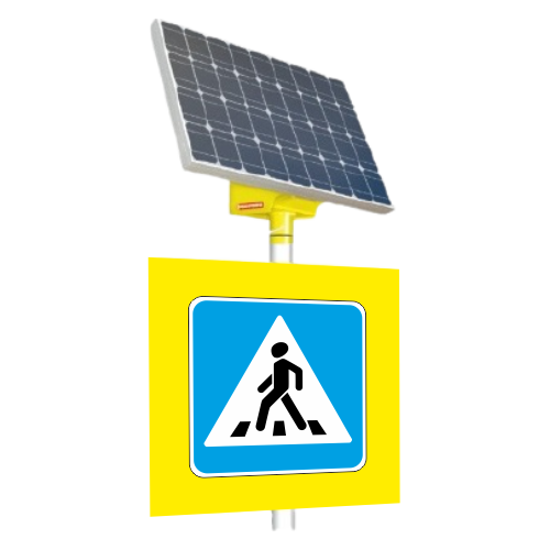 Автономный светодиодный знак 5.19.1 Пешеходный переход (с внутр. подсветкой) [На солнечных батареях]