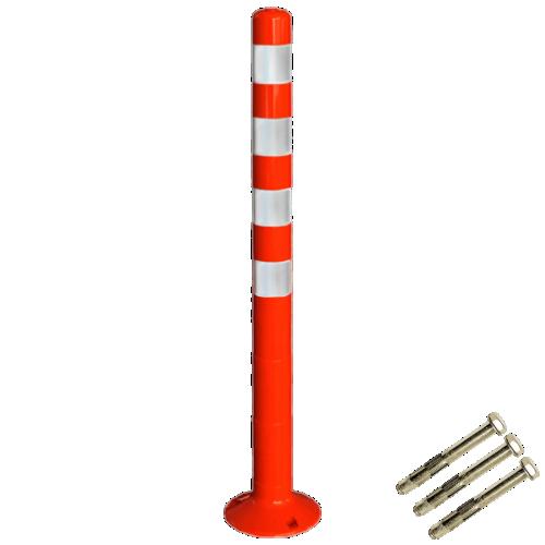 Столбик сигнальный упругий ССУ-1000-4 с крепежом [мягкий, гибкий, парковочный дорожный столбик]
