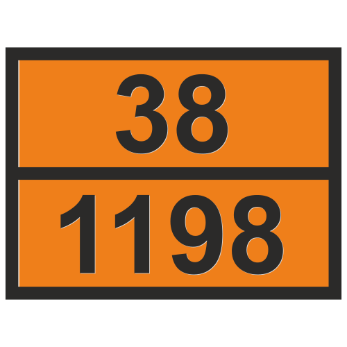 Табличка опасный груз 38-1198 Формальдегида раствор легковоспламеняющийся