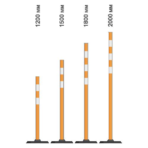 Веха сигнальная пластиковая с резиновой подставкой оранжевая  [1,5 м]