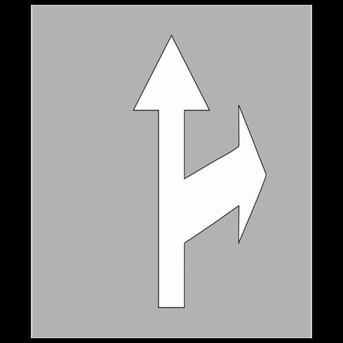 """Трафарет для нанесения дорожной разметки 1.18 """"Движение по полосе прямо и направо"""""""
